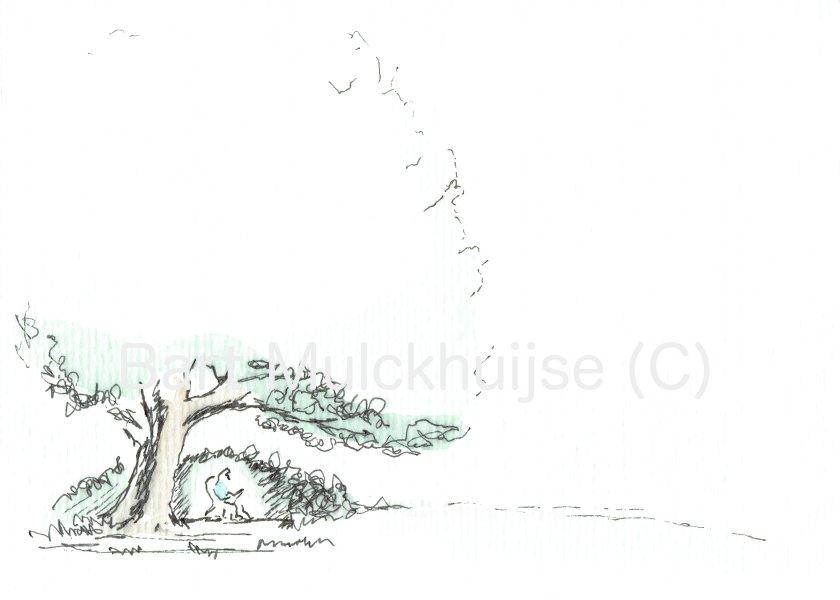 lezen-onder-de-notenboom-pentekening