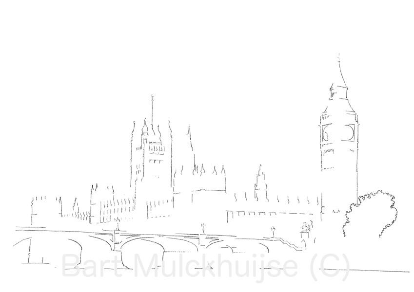 tekening-westminster-palace-big-ben-londen