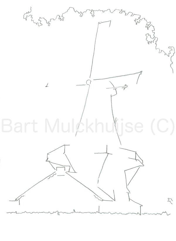 Lijntekening van molen d'Heesterboom in Leiden.