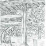 Tekening van afdak met wiel en trog