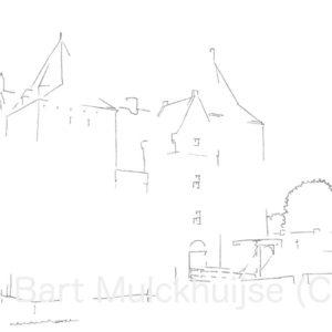 tekening-slot-loevestein-zuid-holland
