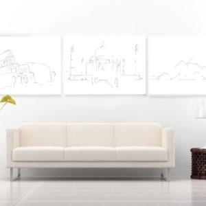 wereldwonderen-tekening-lijst-muur